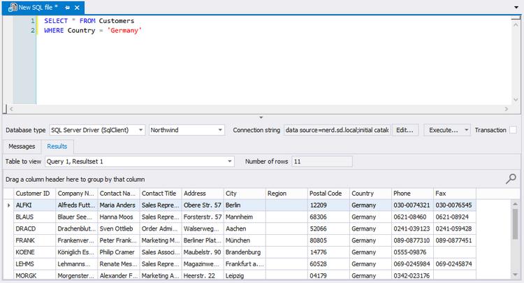 SQL Editor tab